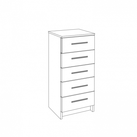 Chest of Drawers - 5 Drawers (Shallow)