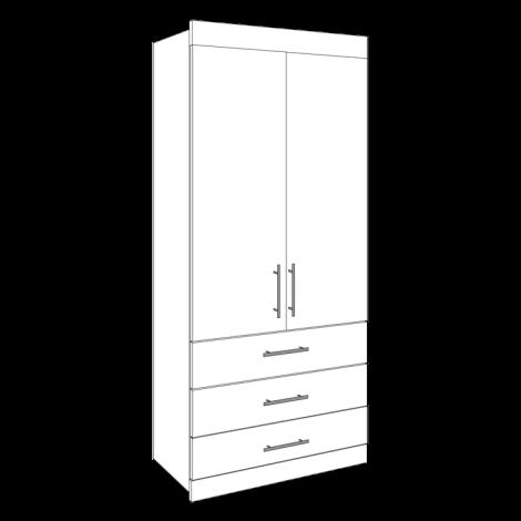 Double Wardrobe - 3 Drawers