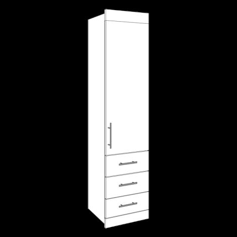 Single Wardrobe - 3 Drawers