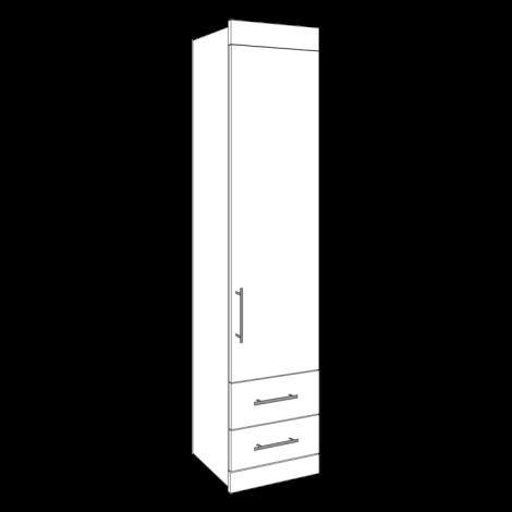 Single Wardrobe - 2 Drawers