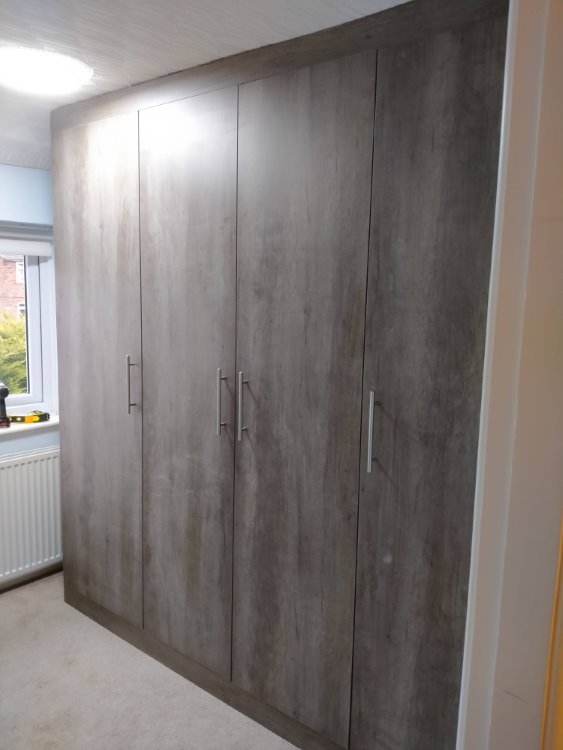 grey oak built in wardrobes