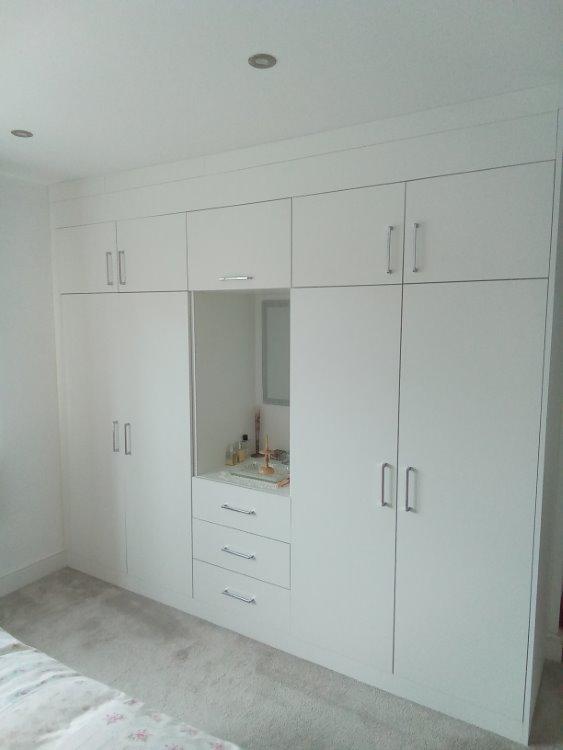 white built in wardrobe