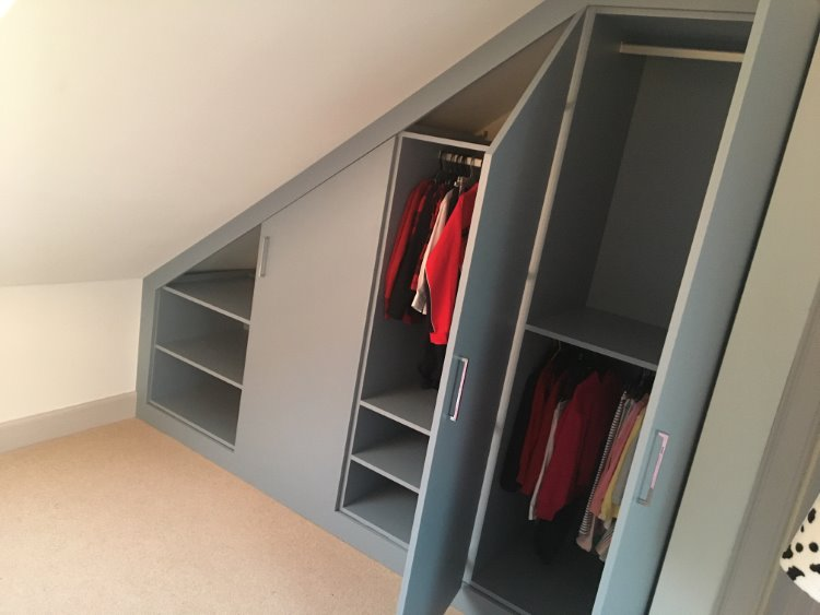 blue angled fitted wardrobe