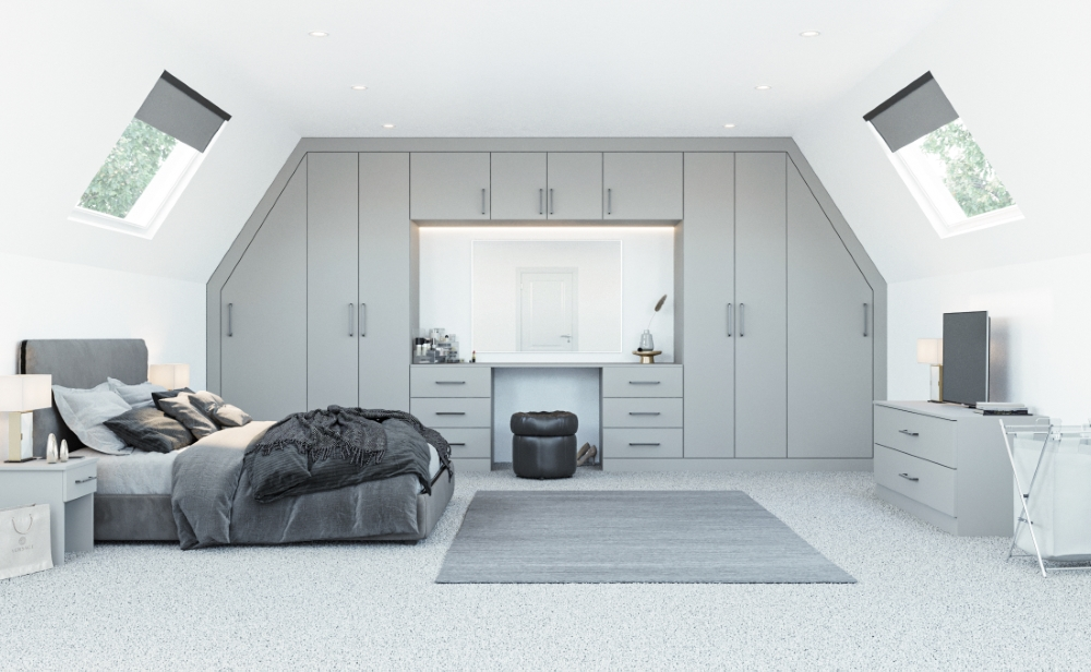 grey angled fitted wardrobe