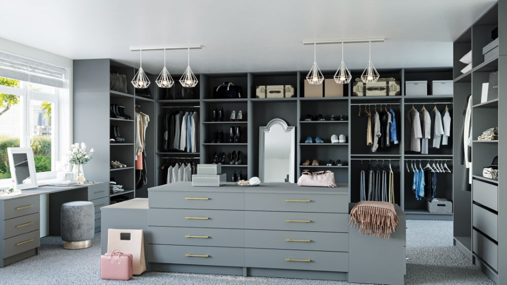 dust grey walk in wardrobe