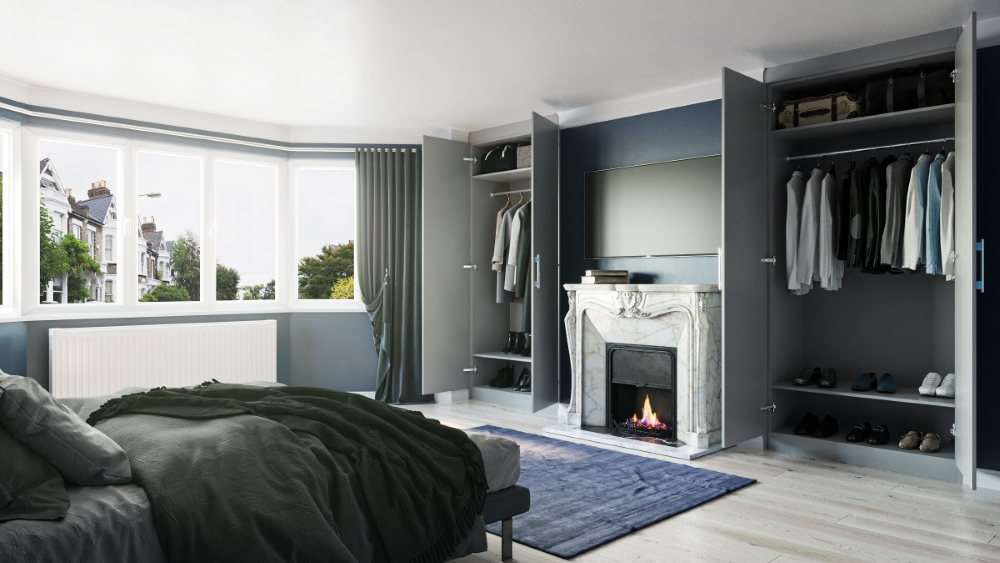 light grey fitted wardrobes chimney breast
