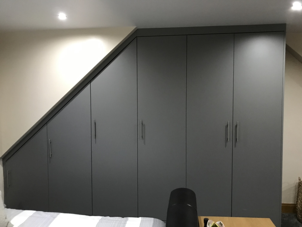 grey angled wardrobe
