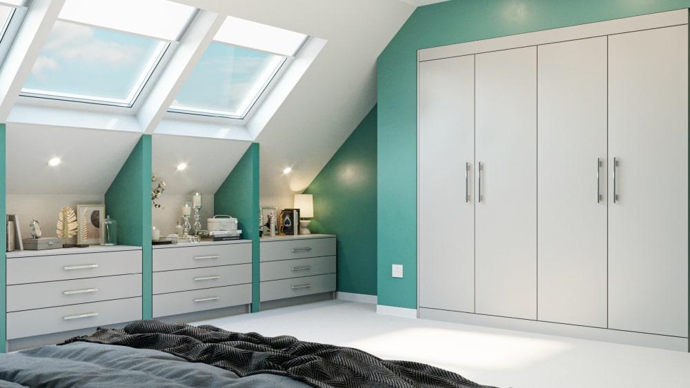 light grey fitted wardrobe