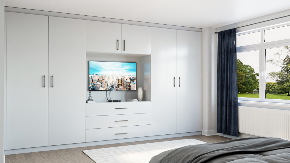 grey fitted wardrobe with tv space