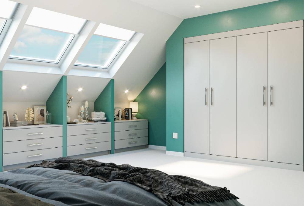 grey built in wardrobes in loft conversion