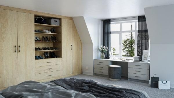 nebraska oak angled wardrobe