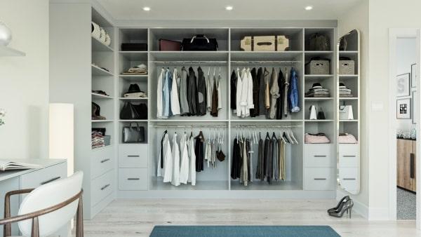 open wardrobe in light grey