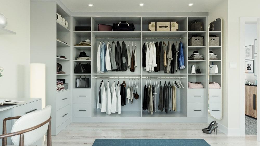 light grey walk in wardrobe