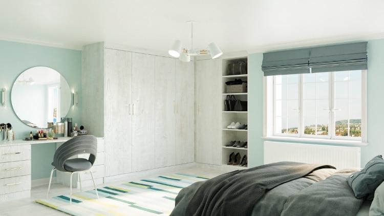 white pine fitted corner wardrobe