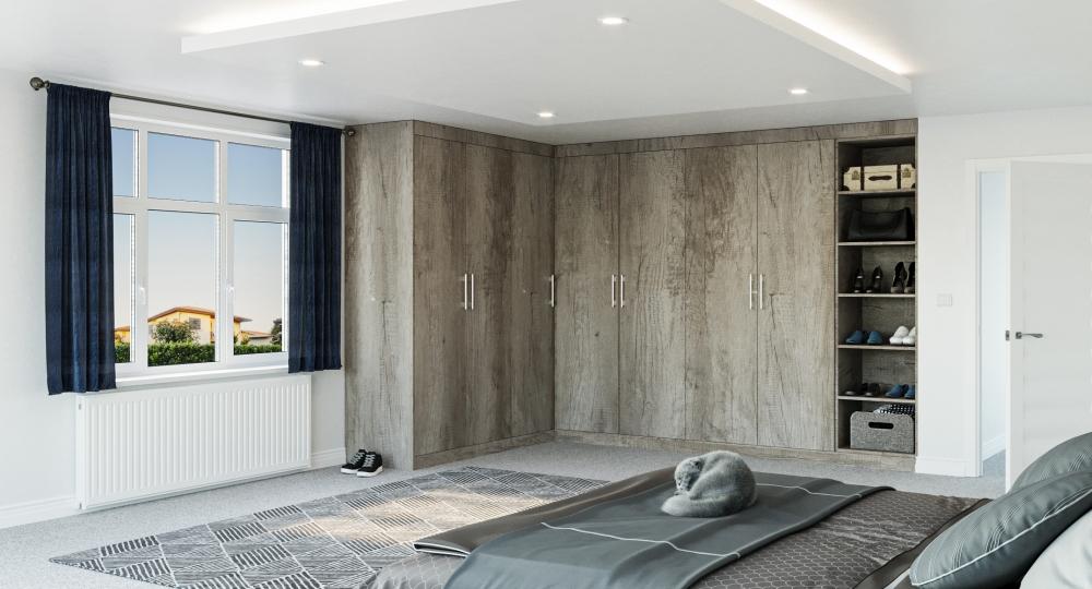 grey corner wardrobe