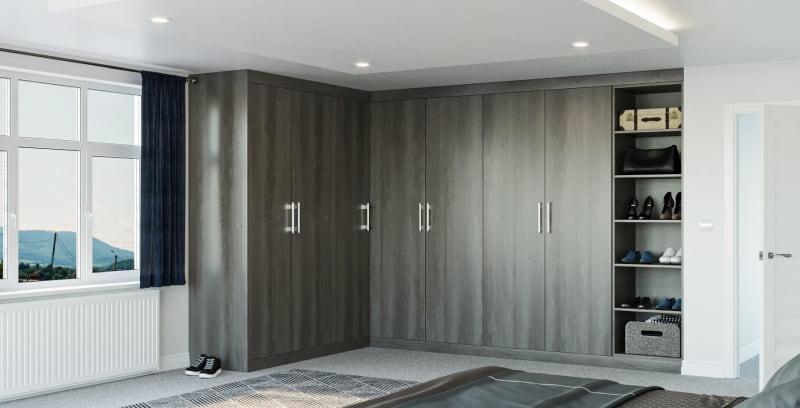 L shape grey fitted wardrobe