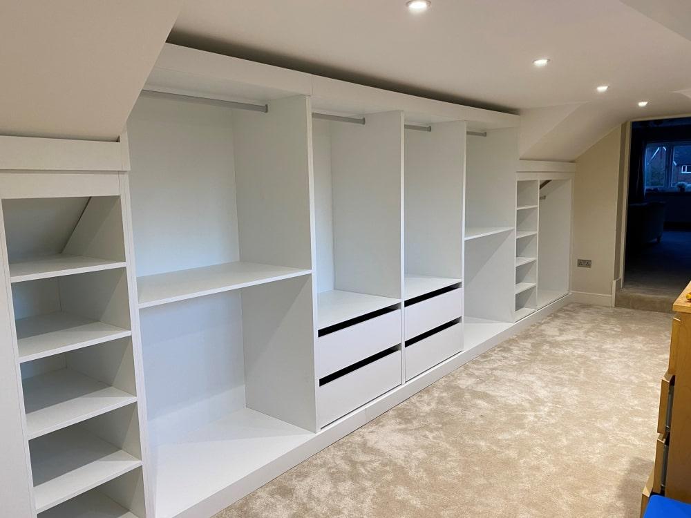 sloping back wardrobe in loft conversion